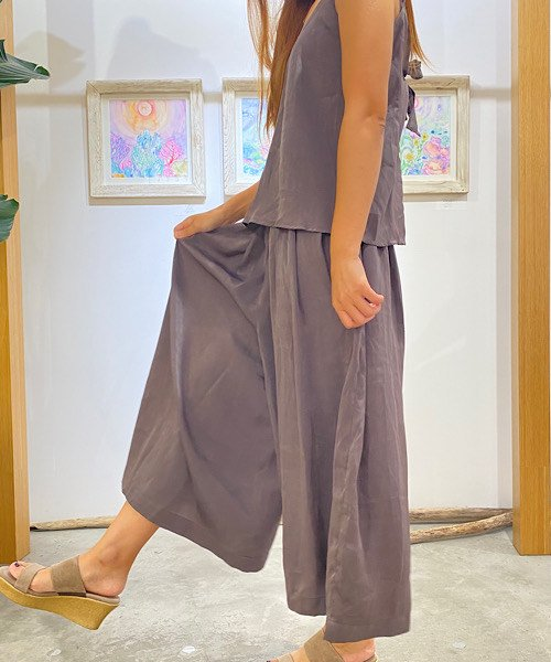 【LADIES】ELLISON Knot Me Satin Top&pants Set/サテン トップス&パンツセット