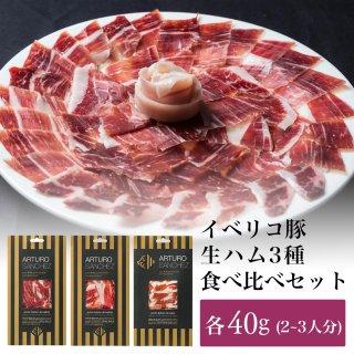 【送料無料】ギフトセット|イベリコ豚の極上生ハム 食べ比べ  40g×3種 ベジョータ 純血 75% セボ |アルトゥーロ・サンチェス