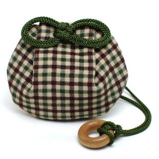 守り巾着 コーデュロイ格子×緑