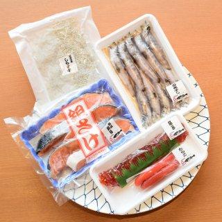 朝食に食べてほしい鮭と干物と魚卵のセット
