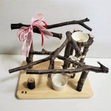 Y字止まり木のアスレチック(ご飯入れ付)