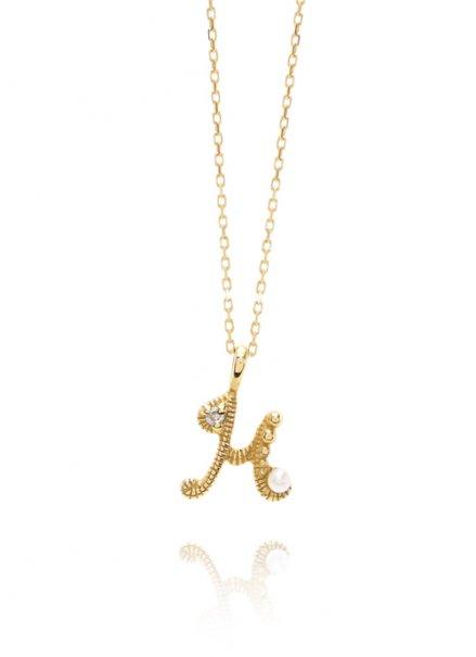 K10YG イニシャルネックレス「H」