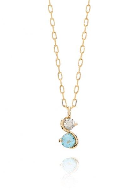 K10YG 誕生石ネックレス「11月ブルートパーズ/ダイヤモンド」