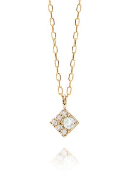 K10YG 誕生石ネックレス「3月 アクアマリン / ダイヤモンド」