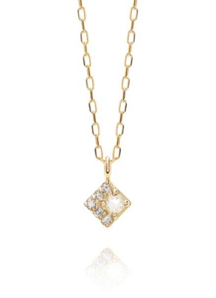 K10YG 誕生石ネックレス「6月ムーンストーン/ダイヤモンド」