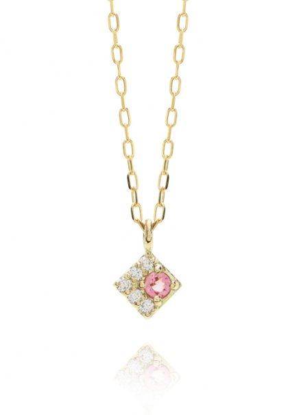 K10YG 誕生石ネックレス「10月ピンクトルマリン/ダイヤモンド」