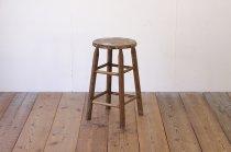 レトロ 無垢材 ハイスツール 丸椅子 花台 ヴィンテージ ナチュラル 木製