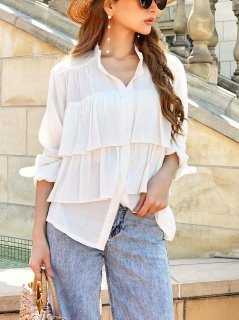 <img class='new_mark_img1' src='https://img.shop-pro.jp/img/new/icons56.gif' style='border:none;display:inline;margin:0px;padding:0px;width:auto;' />Frill Design Loose Shirt
