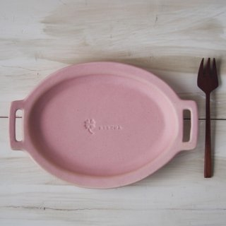 マカロンピンク・ハンドル楕円皿