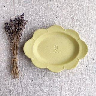 マカロンイエロー・花だえんリム皿-大-