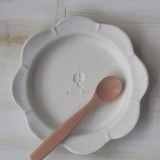 マカロンミルキーホワイト・花まるリム皿-大-
