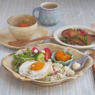 粉福ひし形ロココ皿
