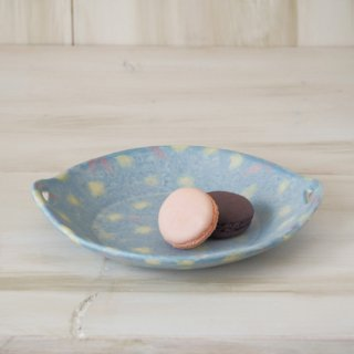 hana*hana手つき丸皿-ブルー