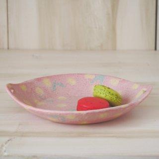 hana*hana手つき丸皿-ピンク-