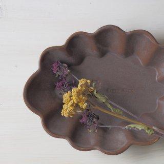 マカロンブラウン・花だえん皿-l-