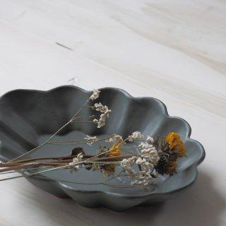 マカロングリーン・花楕円皿-l-