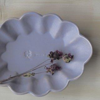 マカロンラベンダー・花楕円皿-l-