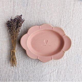 マカロンピンク・花だえんリム皿-大-
