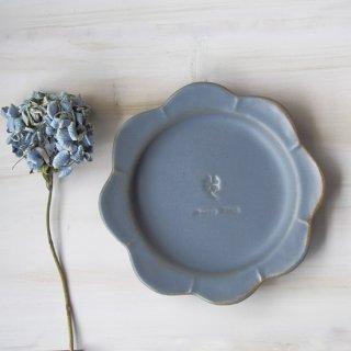 マカロングレー・花まるリム皿-大-