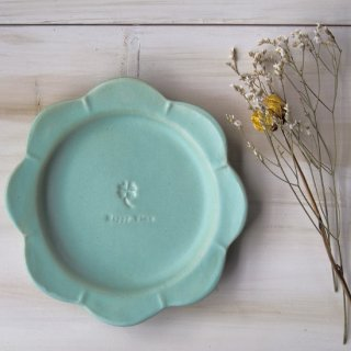 マカロンミントグリーン・花まるリム皿-大-