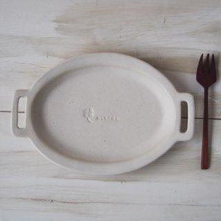 マカロンミルキーホワイト・ハンドル楕円皿