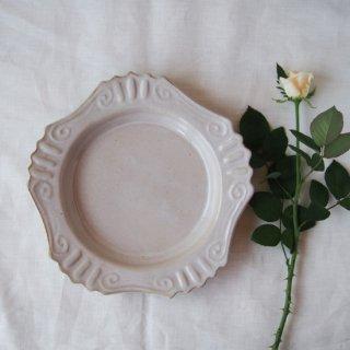 アンティークホワイト・ロココ丸皿