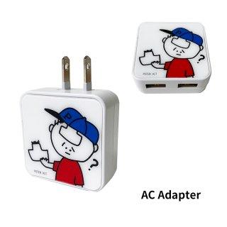 <img class='new_mark_img1' src='https://img.shop-pro.jp/img/new/icons50.gif' style='border:none;display:inline;margin:0px;padding:0px;width:auto;' />CHARACTER(ベースボール・おでこ取れちゃったくん) USB2ポート ACアダプタ