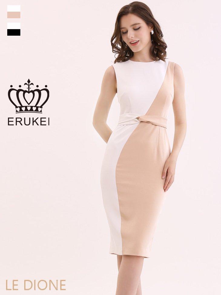 [ERUKEI/エルケイ]バイカラータイトミディアムドレス