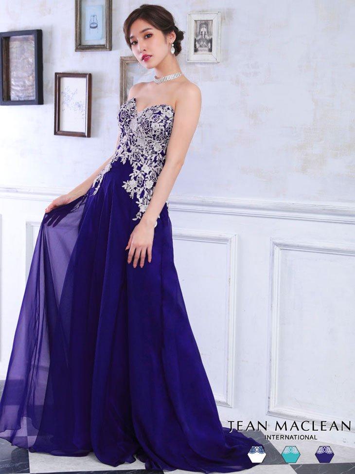 [JEAN MACLEAN/ジャンマクレーン]刺繍レースのシフォンベアトップロングドレス