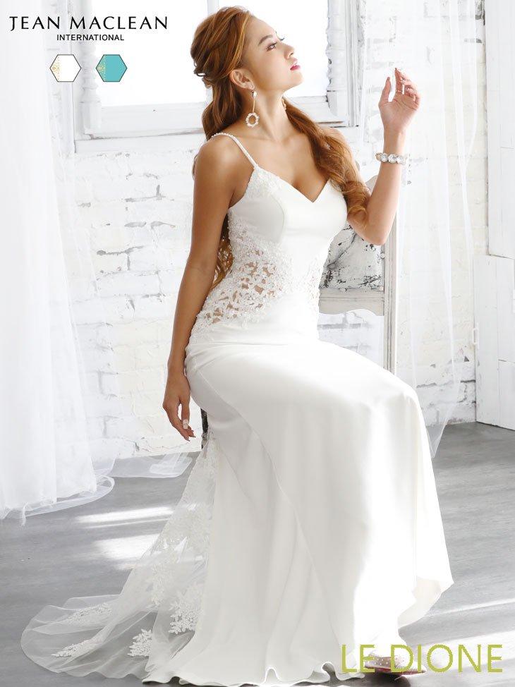 [JEAN MACLEAN/ジャンマクレーン]ウエスト透け刺繍の美シルエットロングドレス