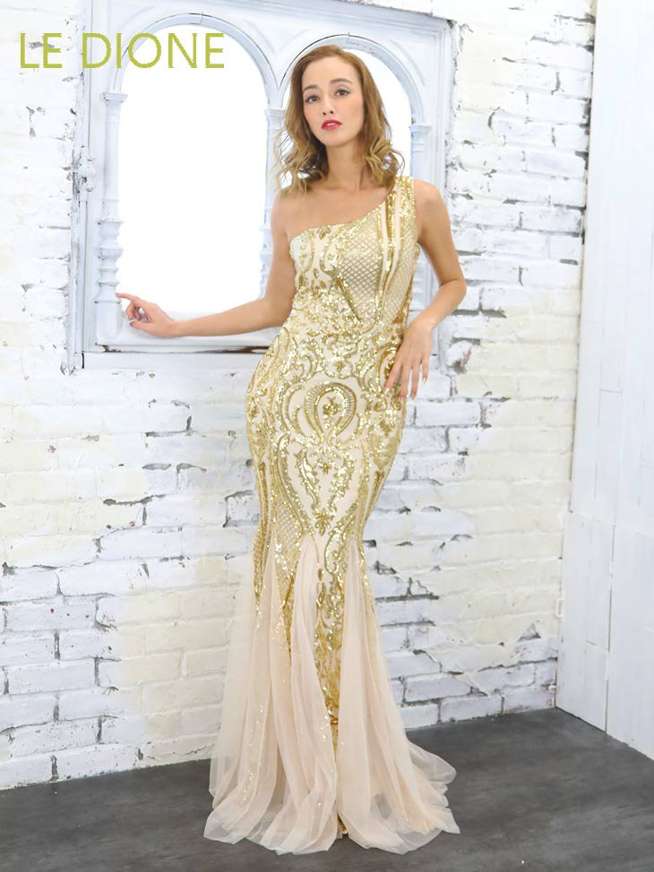 ワンショルダースパンコールマーメードロングドレス