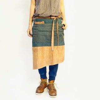 腰巻カフェエプロン/グリーン×ブラウン/三河織物