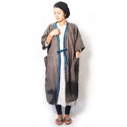 ゆったりカジュアル羽織り/墨染手描き/三河織物