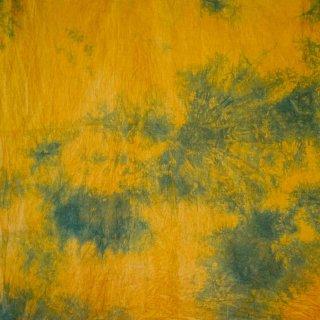 【1m単位】にじみマスタード/柿渋染め×藍染/三河織物 綿平織り