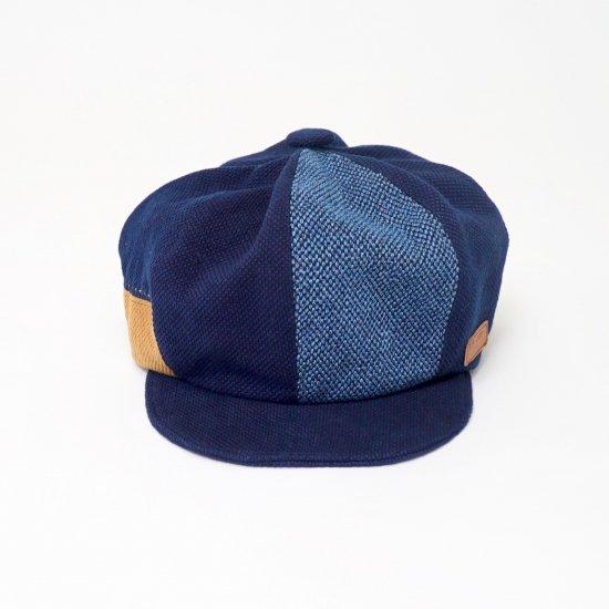 もこもこキャスケット インディゴパッチワーク /三河木綿刺し子織/ UZU JAPAN STYLE2018
