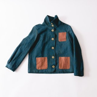 えりがわりブルゾン/深緑/三河織物
