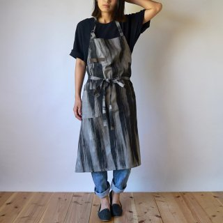 カフェエプロン/墨ストライプ/三河織物 平織り
