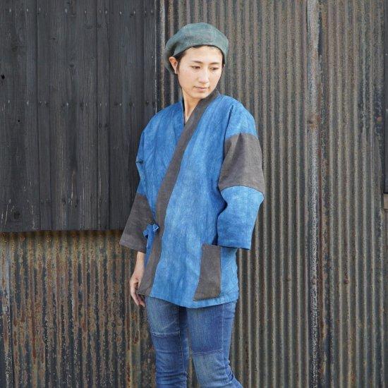 パッチワーク作務衣 ブルー×グレー 柿渋×藍染
