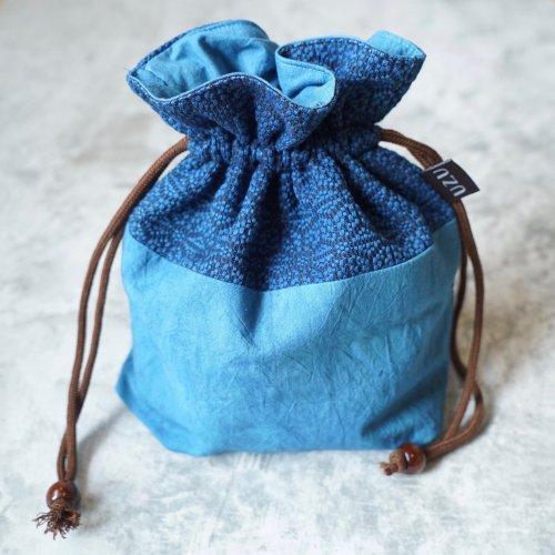 手提げ巾着バッグ 麻柄/三河木綿 刺し子織