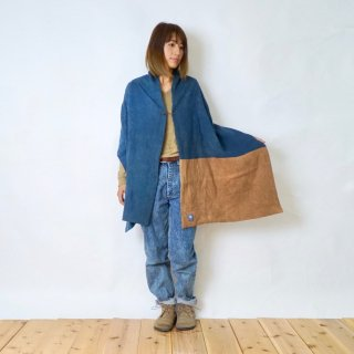 ポンチョストール/ブルーグレー ×ブラウン/知多木綿 ダブルガーゼ