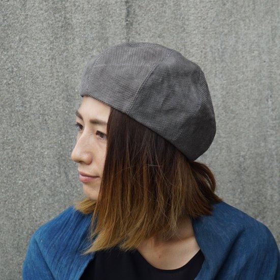 もこもこベレー帽/5カラー/三河木綿 刺し子織