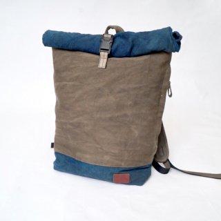 ロールトップバックパック/ツートン/ブルーグレー ×グレー/三河木綿 刺し子織