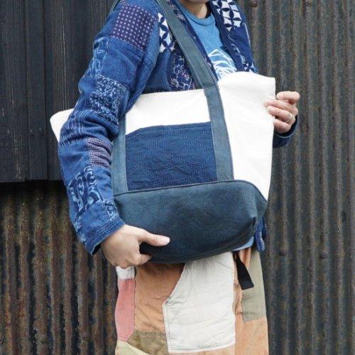 トートバッグ/生成り×ブルーグレー/知多木綿 9号帆布