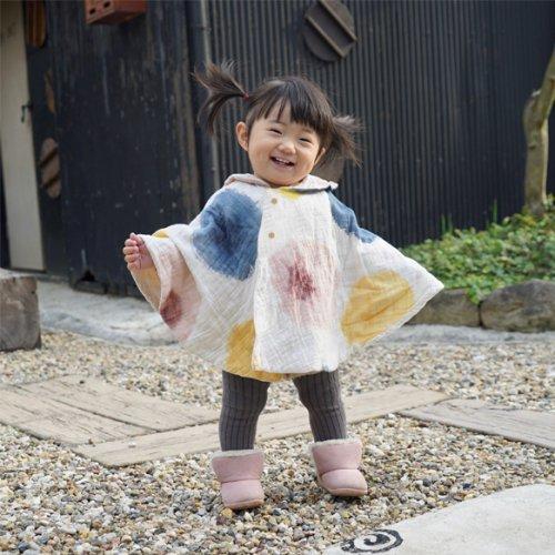 てるてるポンチョ/にじみ水玉/知多木綿 ダブルガーゼ