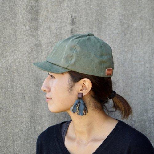 アンパイヤキャップ/ダメージウォッシュ カーキ/三河織物