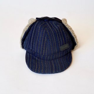 耳あて付きキャップ/ブルー/遠州織物