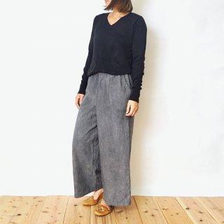 ゆったりワイドパンツ/グレー/三河織物
