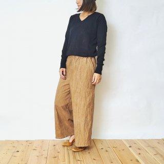 ゆったりワイドパンツ/ブラウンベージュ/三河織物