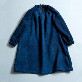 スモックワンピース/インディゴブルー/三河木綿 刺し子織