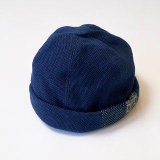 パッチワークロールキャップ/インディゴ/三河木綿 刺し子織